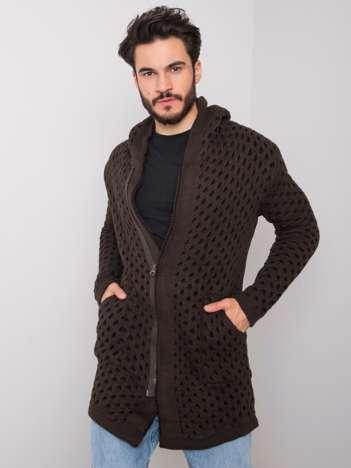 Ciemnobrązowy sweter męski z kapturem Keith