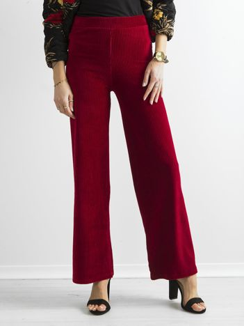Ciemnoczerwone szerokie spodnie sztruksowe