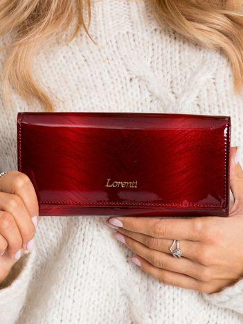 Ciemnoczerwony lakierowany portfel ze skóry naturalnej