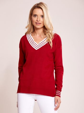 Ciemnoczerwony luźny sweter V-neck z domieszką wełny