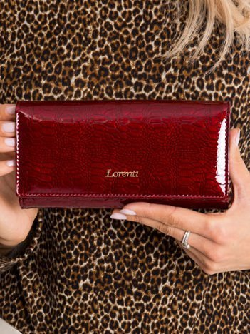 Ciemnoczerwony portfel skórzany