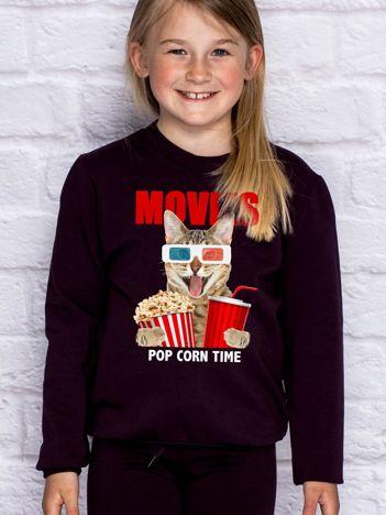 Ciemnofioletowa bluza dziecięca z kotkiem i popcornem