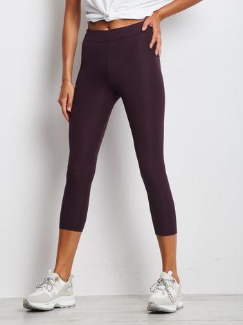 Ciemnofioletowe legginsy fitness 7/8 o średniej grubości