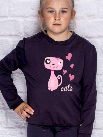 Ciemnogranatowa bluza dla dziewczynki z pieskiem