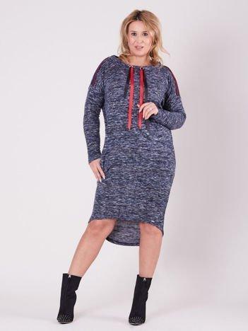 Ciemnoniebieska asymetryczna sukienka PLUS SIZE