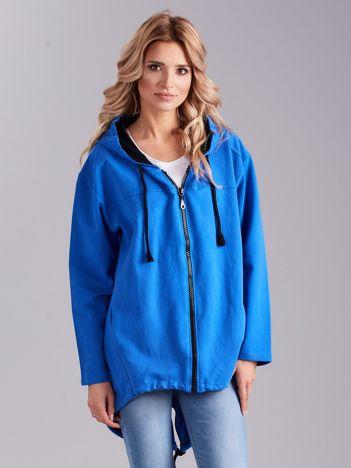 Ciemnoniebieska bawełniana bluza z kapturem