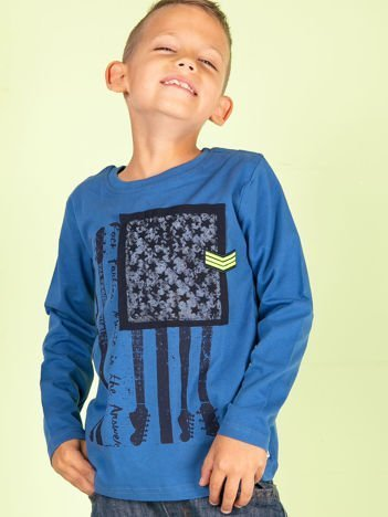 Ciemnoniebieska bawełniana bluzka dla chłopca