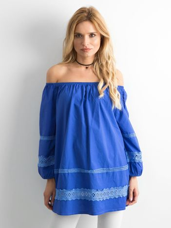 Ciemnoniebieska bawełniana tunika z hiszpańskim dekoltem