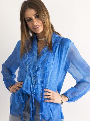 Ciemnoniebieska bluzka z żabotem