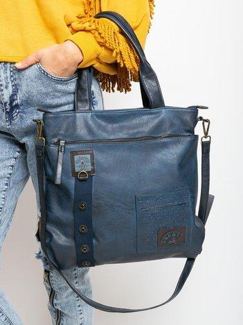 Ciemnoniebieska damska torba na ramię z ekoskóry