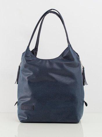 Ciemnoniebieska damska torba ze skóry ekologicznej