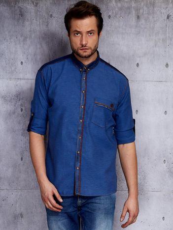 Ciemnoniebieska koszula męska w drobny wzór PLUS SIZE