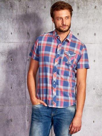 Ciemnoniebieska koszula męska w kolorową kratę FUNK N SOUL