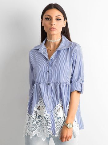 Ciemnoniebieska koszula w paski