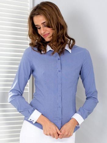 Ciemnoniebieska koszula w paski z kontrastowymi mankietami