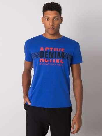 Ciemnoniebieska koszulka męska z nadrukiem Collin