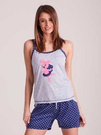 Ciemnoniebieska piżama do spania z nadrukiem