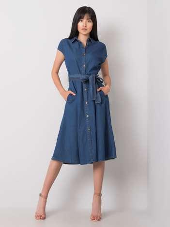 Ciemnoniebieska sukienka Rosaline RUE PARIS