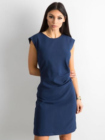 Ciemnoniebieska sukienka damska z marszczeniem