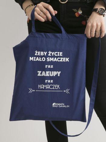 Ciemnoniebieska torba ekologiczna z bawełny z napisem