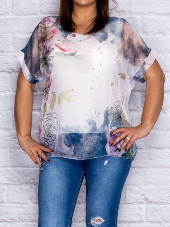 Ciemnoniebieska zwiewna bluzka koszulowa z motywem kwiatów PLUS SIZE