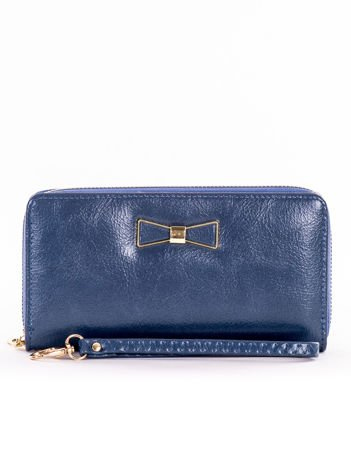 Ciemnoniebieski długi portfel na zamek z ozdobną kokardką