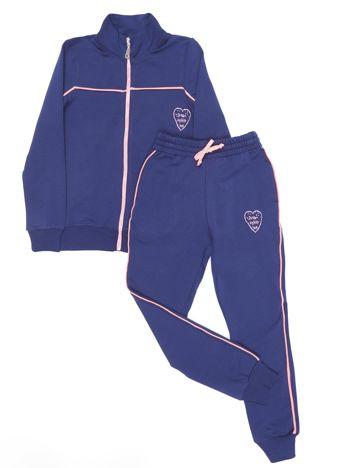Ciemnoniebieski dresowy komplet dla dziewczynki spodnie i bluza