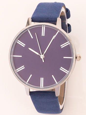 Ciemnoniebieski klasyczny zegarek damski na wąskim pasku