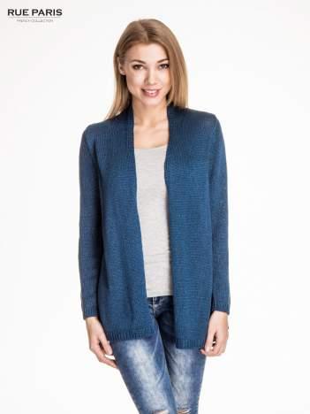Ciemnoniebieski otwarty sweter z błyszczącą nitką