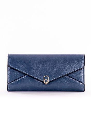 Ciemnoniebieski podłużny portfel z ozdobnym zapięciem na napę