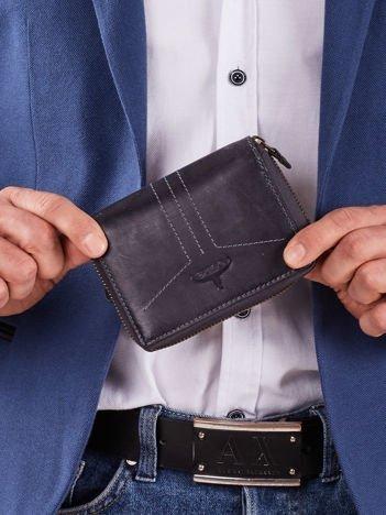 Ciemnoniebieski portfel dla mężczyzny na suwak