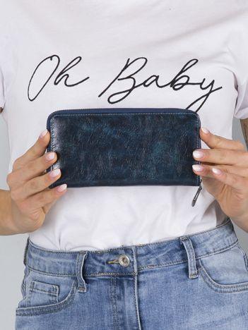 Ciemnoniebieski skórzany portfel na suwak