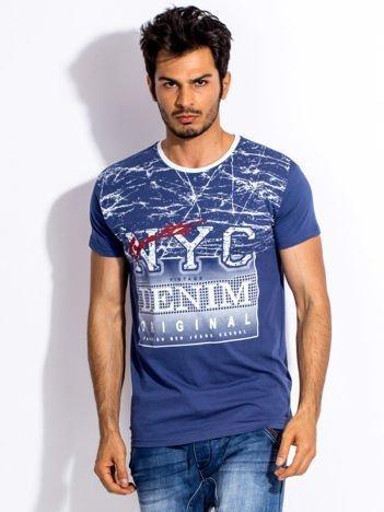 Ciemnoniebieski t-shirt męski urban print