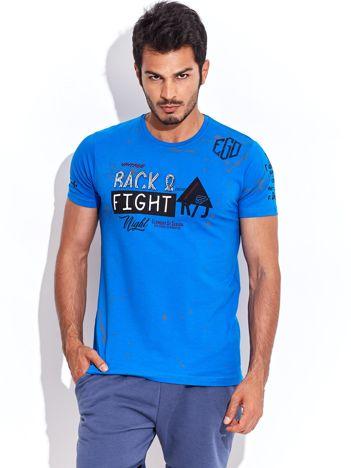 Ciemnoniebieski t-shirt męski z wypukłym nadrukiem i napisami