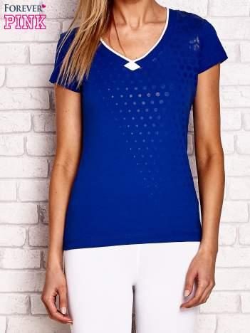 Ciemnoniebieski t-shirt z nadrukiem kropek