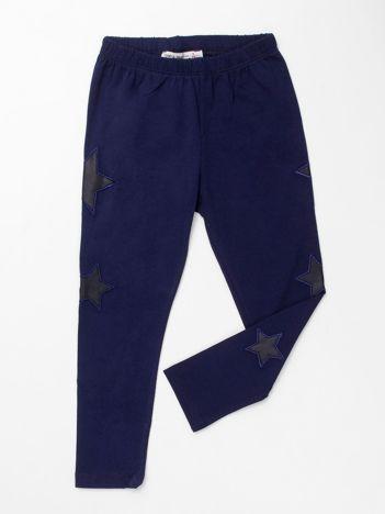 Ciemnoniebieskie legginsy dla dziewczynki w gwiazdki