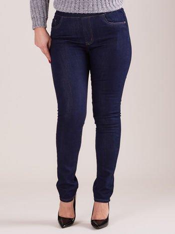 Ciemnoniebieskie spodnie z prostymi nogawkami PLUS SIZE
