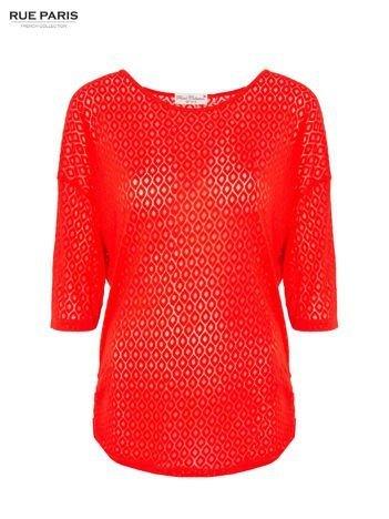 Ciemnopomarańczowa bluzka w ażurowy wzór