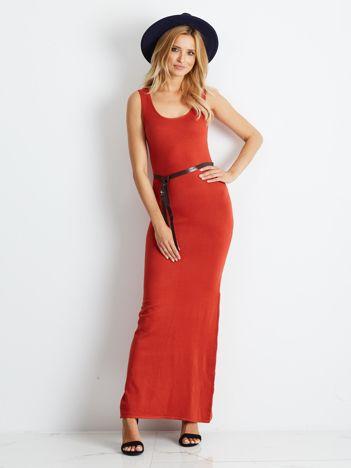 Ciemnopomarańczowa dopasowana sukienka maxi