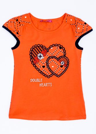 Ciemnopomarańczowy t-shirt dla dziewczynki z sercami