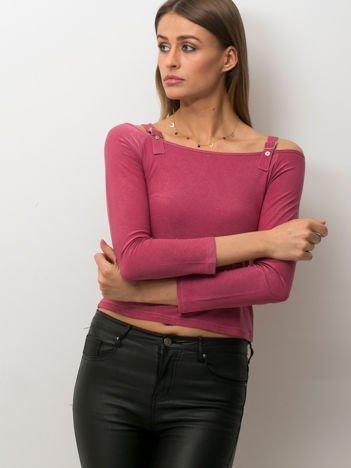Ciemnoróżowa bluzka damska cut out