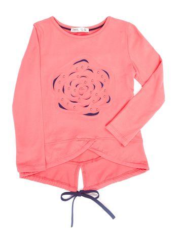 Ciemnoróżowa bluzka dla dziewczynki z wypukłym kwiatem