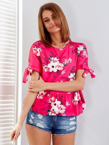 Ciemnoróżowa bluzka floral print z falbaną
