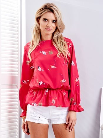 Ciemnoróżowa bluzka w kolorowe flamingi