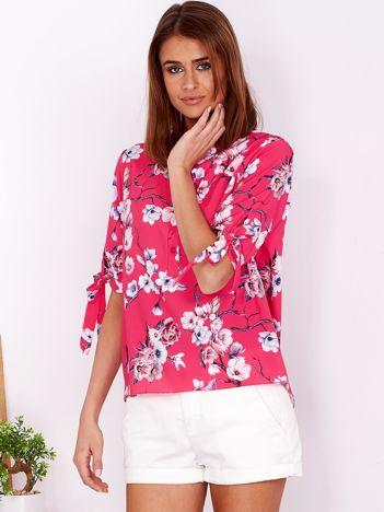 Ciemnoróżowa kwiatowa bluzka
