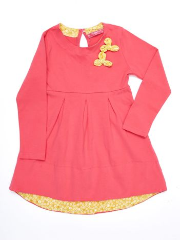 Ciemnoróżowa sukienka dziewczęca bawełniana z ozdobą