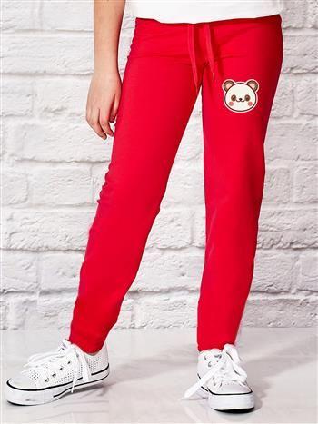 Ciemnoróżowe spodnie dresowe dla dziewczynki z pandą