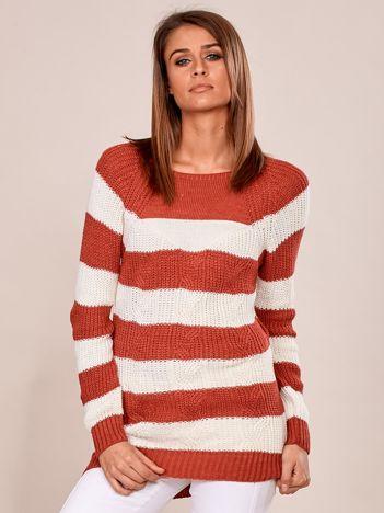 Ciemnoróżowy sweter damski w paski