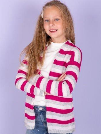 Ciemnoróżowy sweter dla dziewczynki w kolorowe pasy