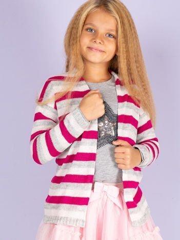 Ciemnoróżowy sweter dla dziewczynki w paski